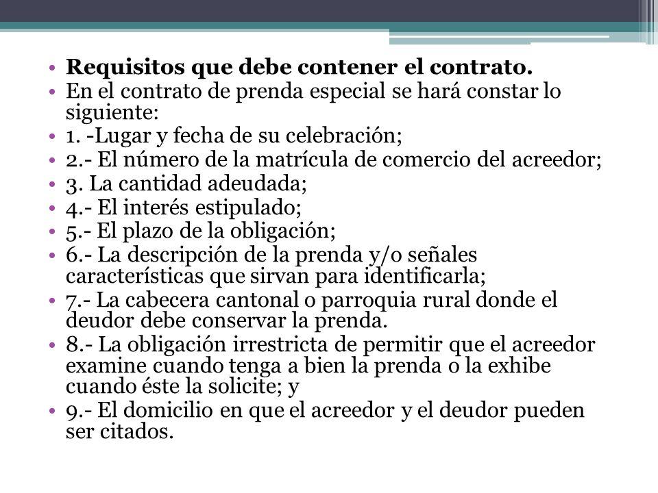 Requisitos que debe contener el contrato.