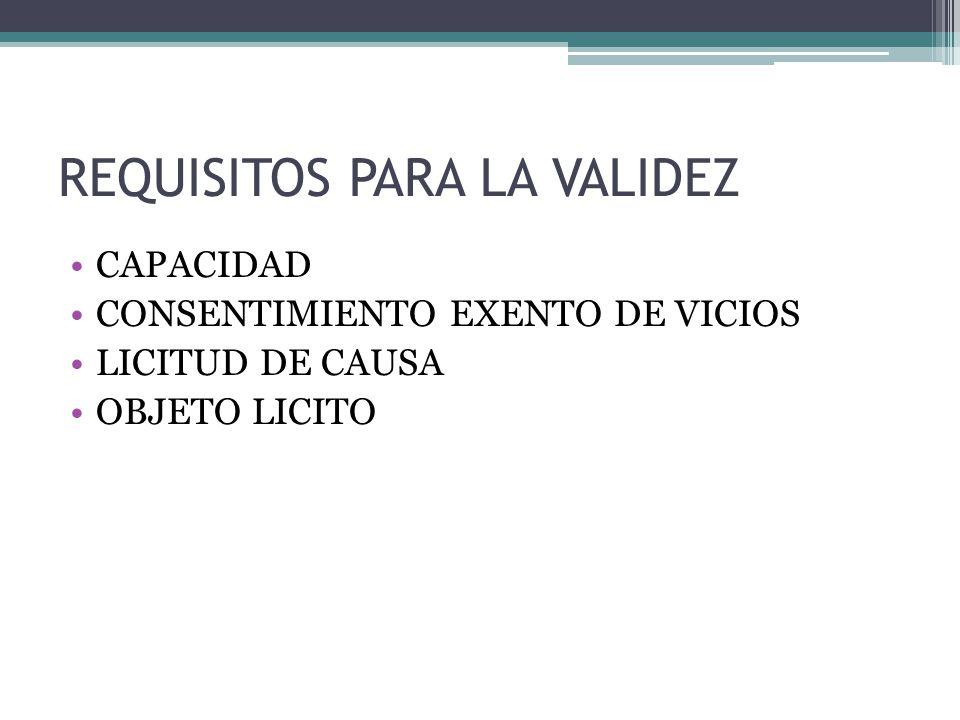 REQUISITOS PARA LA VALIDEZ