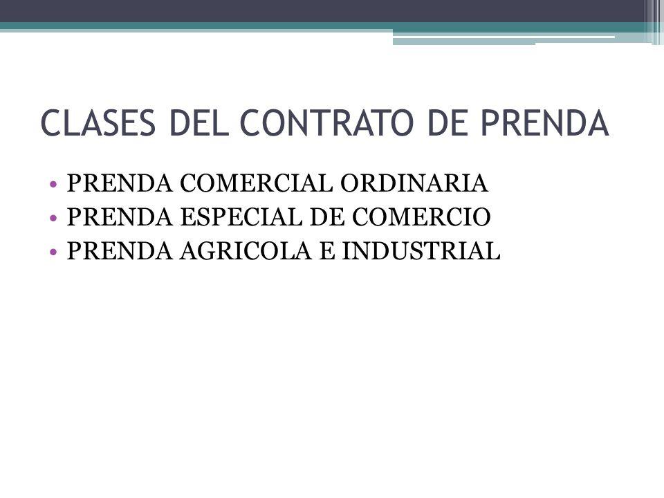 CLASES DEL CONTRATO DE PRENDA