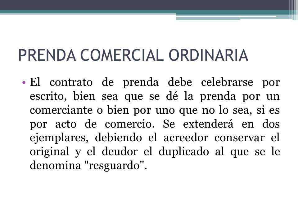 PRENDA COMERCIAL ORDINARIA