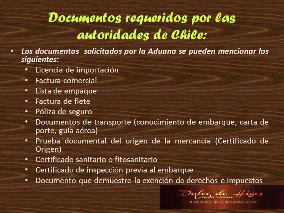 Documentos requeridos por las autoridades de Chile: