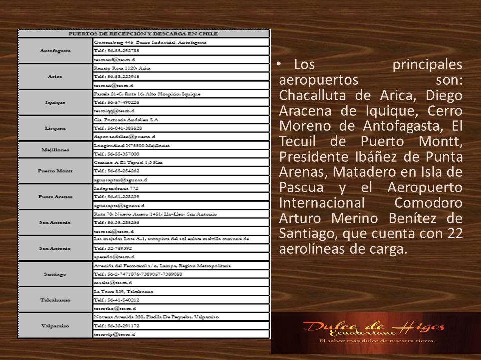 Los principales aeropuertos son: Chacalluta de Arica, Diego Aracena de Iquique, Cerro Moreno de Antofagasta, El Tecuil de Puerto Montt, Presidente Ibáñez de Punta Arenas, Matadero en Isla de Pascua y el Aeropuerto Internacional Comodoro Arturo Merino Benítez de Santiago, que cuenta con 22 aerolíneas de carga.