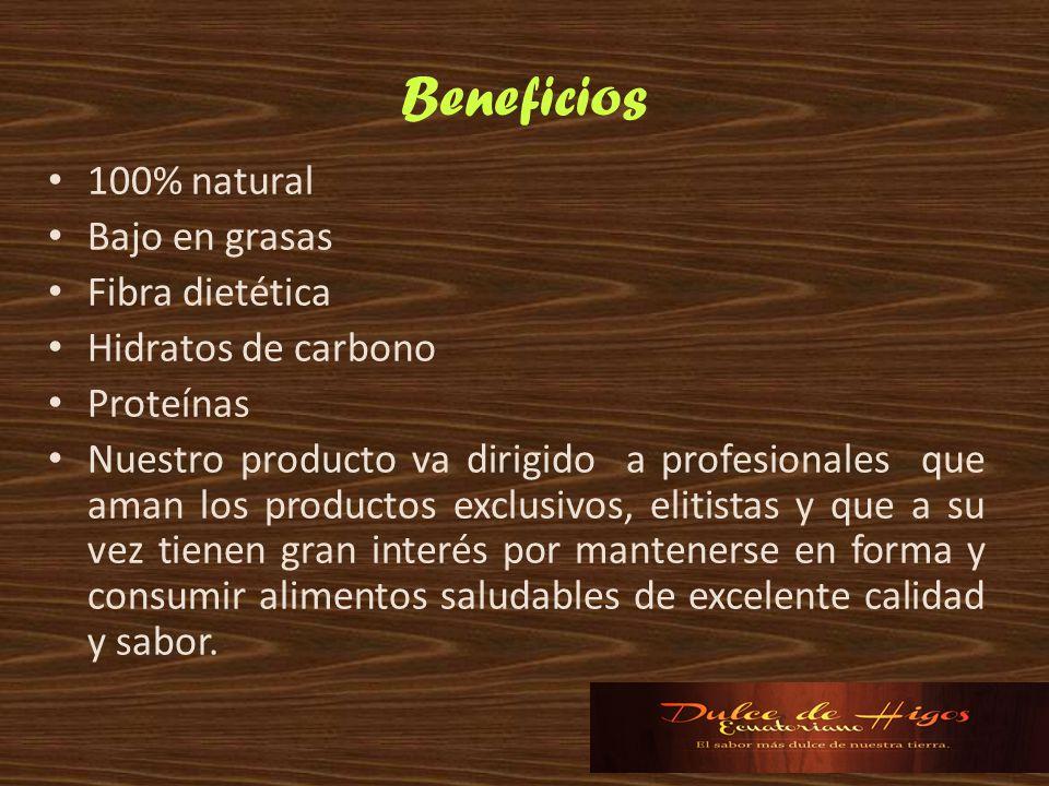 Beneficios 100% natural Bajo en grasas Fibra dietética