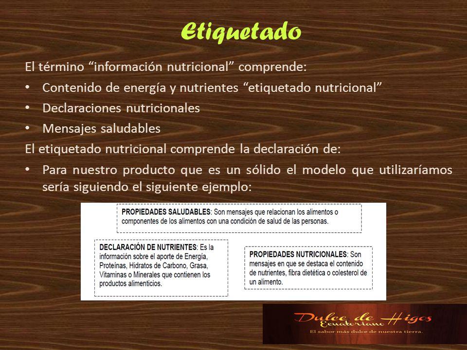 Etiquetado El término información nutricional comprende: