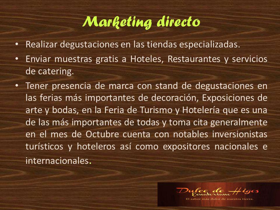 Marketing directo Realizar degustaciones en las tiendas especializadas. Enviar muestras gratis a Hoteles, Restaurantes y servicios de catering.