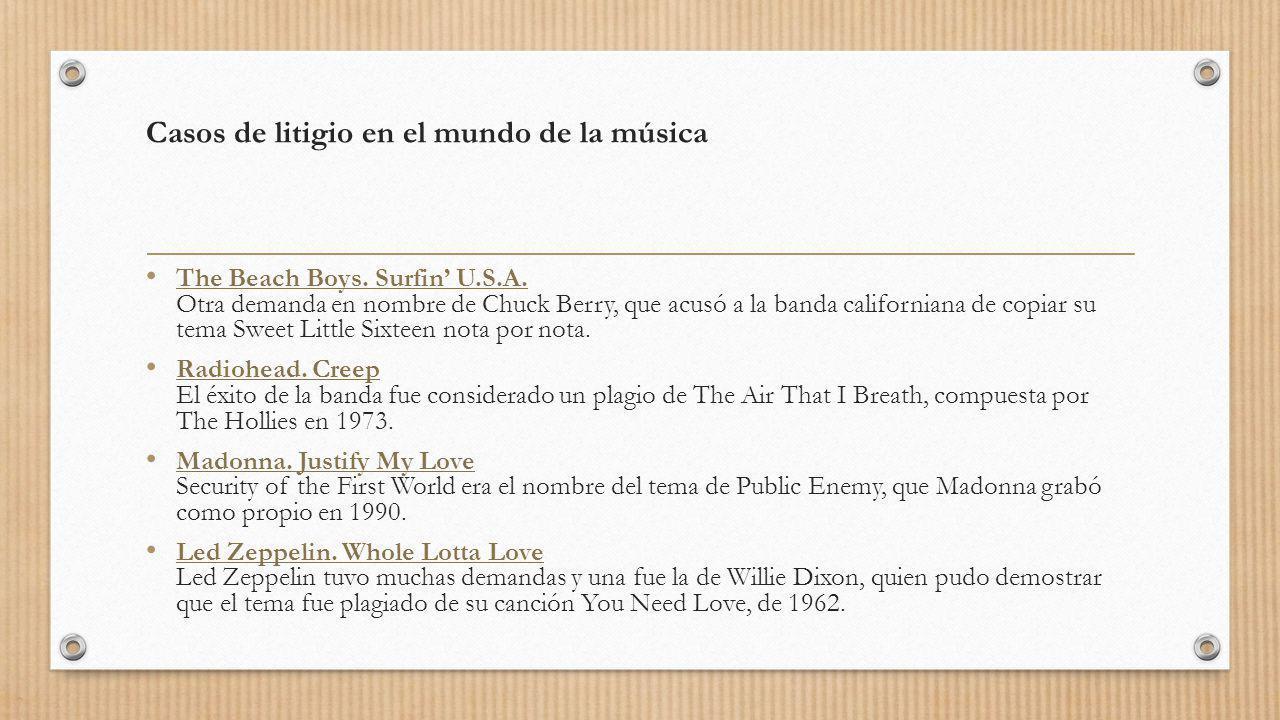 Casos de litigio en el mundo de la música