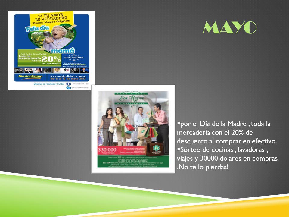 Mayo por el Día de la Madre , toda la mercadería con el 20% de descuento al comprar en efectivo.
