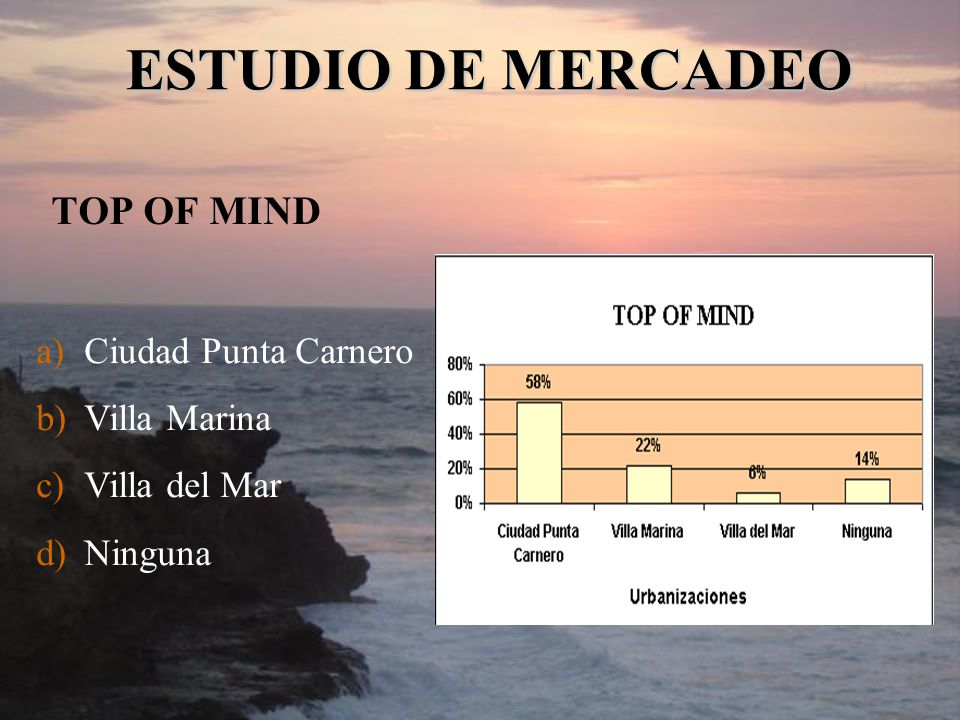 ESTUDIO DE MERCADEO TOP OF MIND Ciudad Punta Carnero Villa Marina