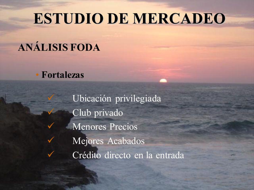 ESTUDIO DE MERCADEO ANÁLISIS FODA Fortalezas Ubicación privilegiada