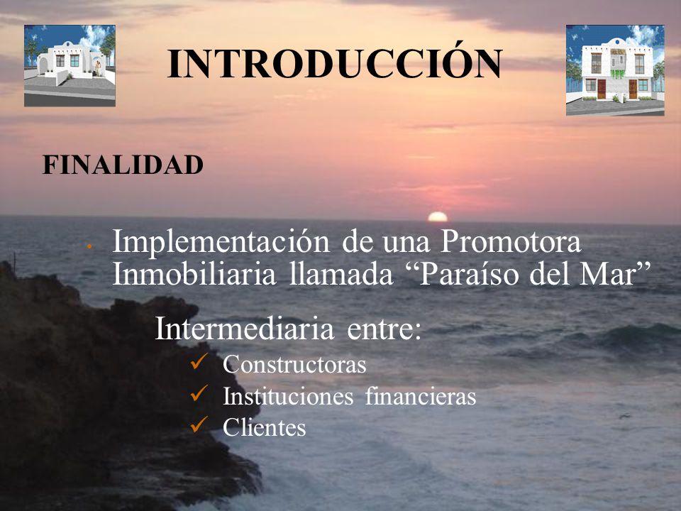 INTRODUCCIÓN FINALIDAD. Implementación de una Promotora Inmobiliaria llamada Paraíso del Mar Intermediaria entre: