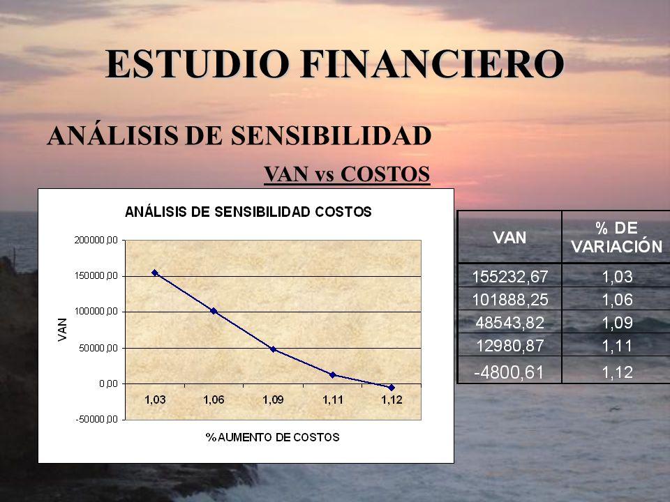 ESTUDIO FINANCIERO ANÁLISIS DE SENSIBILIDAD VAN vs COSTOS