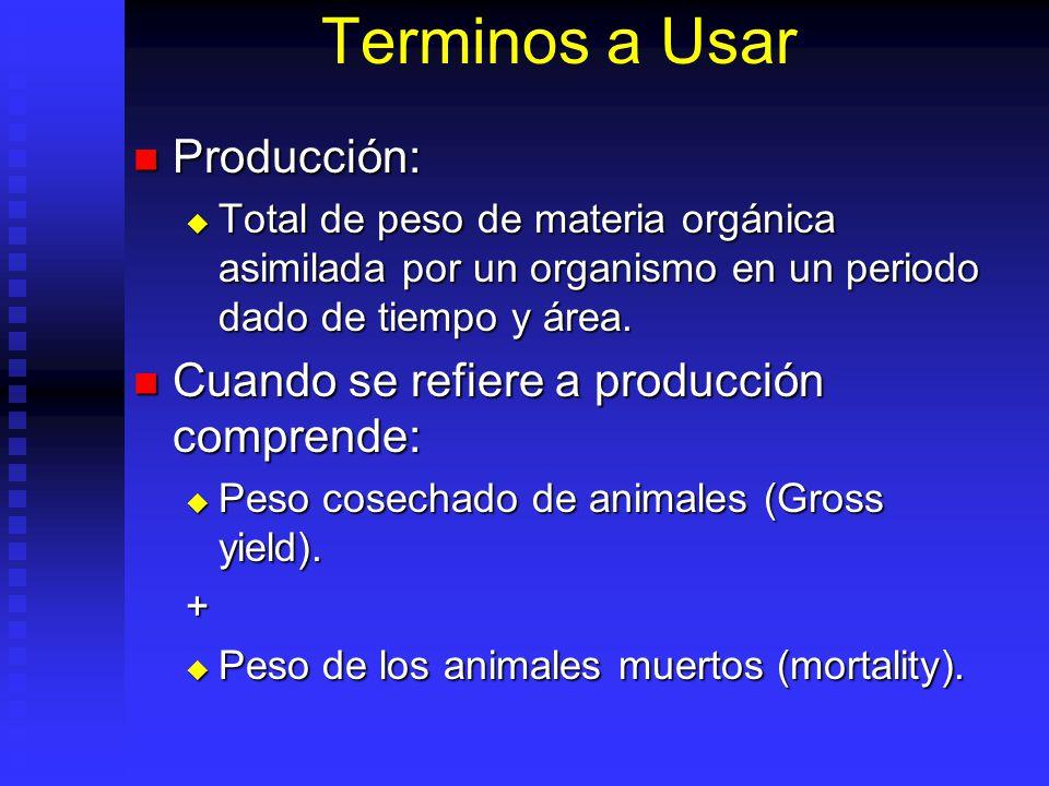 Terminos a Usar Producción: Cuando se refiere a producción comprende: