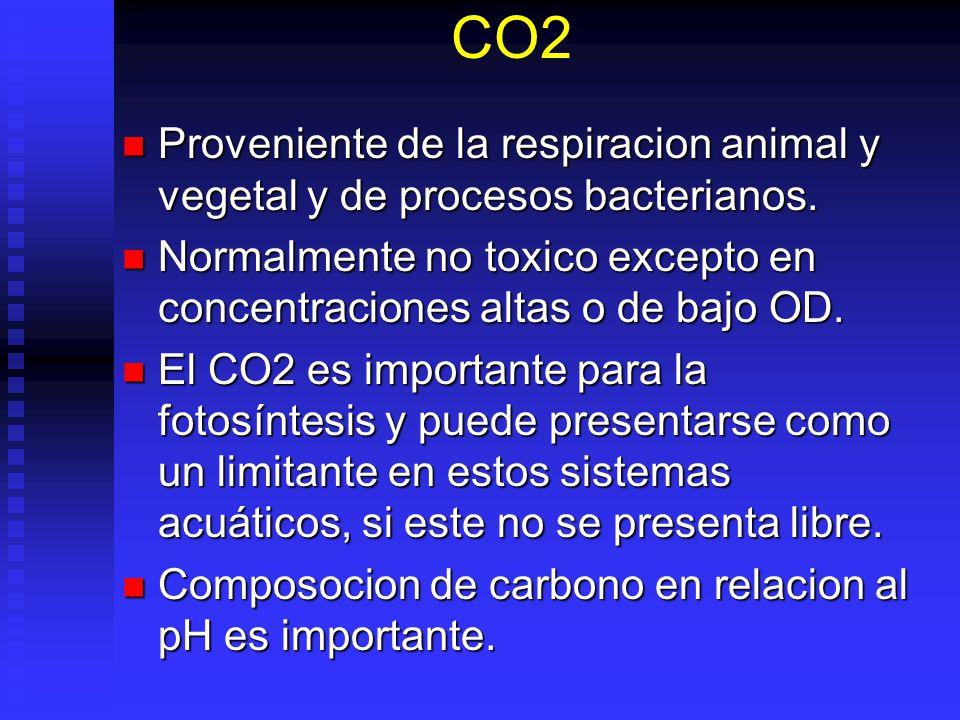 CO2 Proveniente de la respiracion animal y vegetal y de procesos bacterianos. Normalmente no toxico excepto en concentraciones altas o de bajo OD.