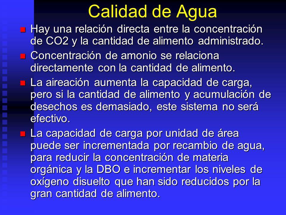 Calidad de Agua Hay una relación directa entre la concentración de CO2 y la cantidad de alimento administrado.