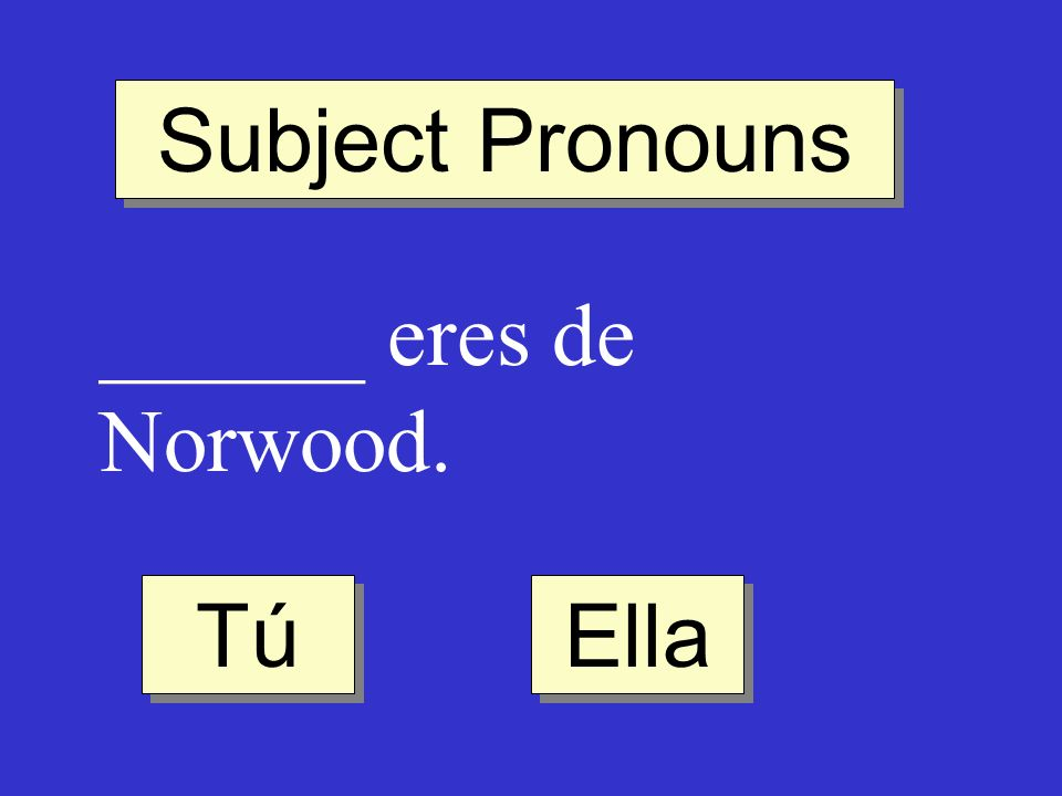 Subject Pronouns ______ eres de Norwood. Tú Ella