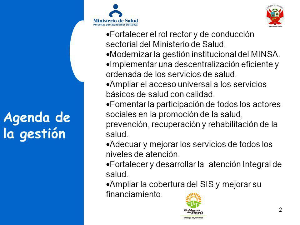 Fortalecer el rol rector y de conducción sectorial del Ministerio de Salud.
