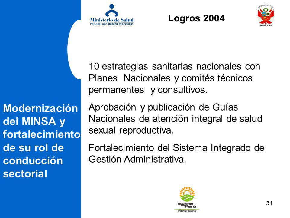 Logros 2004 10 estrategias sanitarias nacionales con Planes Nacionales y comités técnicos permanentes y consultivos.