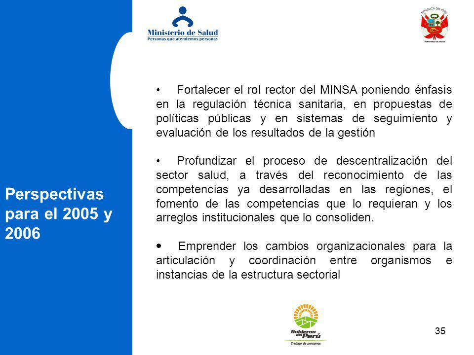 Fortalecer el rol rector del MINSA poniendo énfasis en la regulación técnica sanitaria, en propuestas de políticas públicas y en sistemas de seguimiento y evaluación de los resultados de la gestión