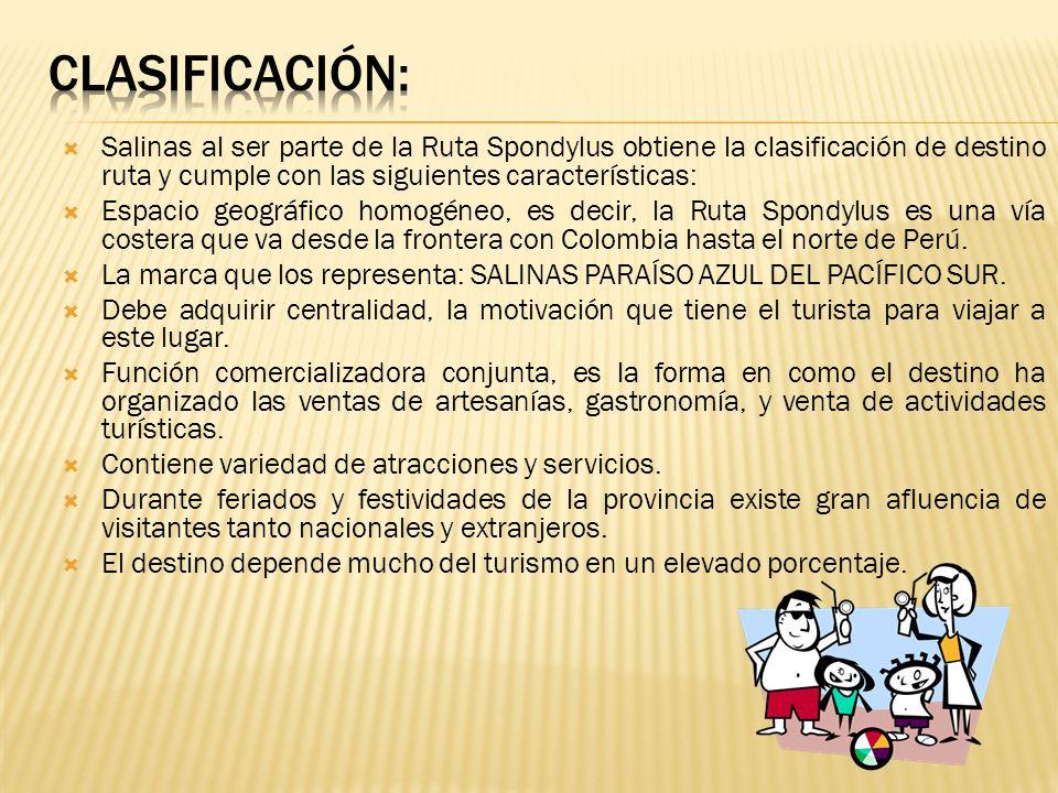 Clasificación: Salinas al ser parte de la Ruta Spondylus obtiene la clasificación de destino ruta y cumple con las siguientes características:
