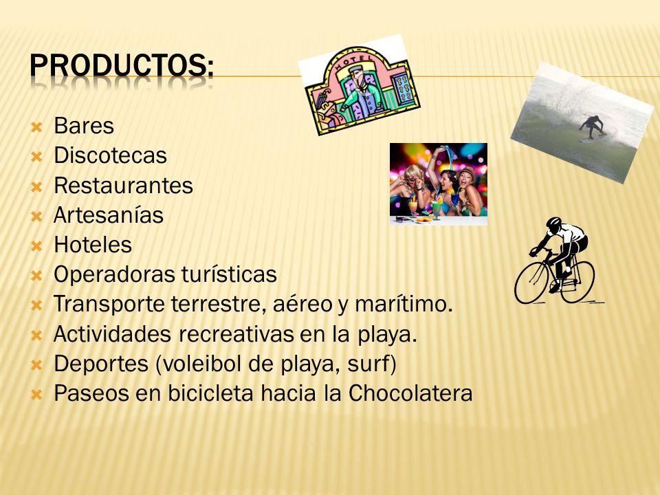 PRODUCTOS: Bares Discotecas Restaurantes Artesanías Hoteles