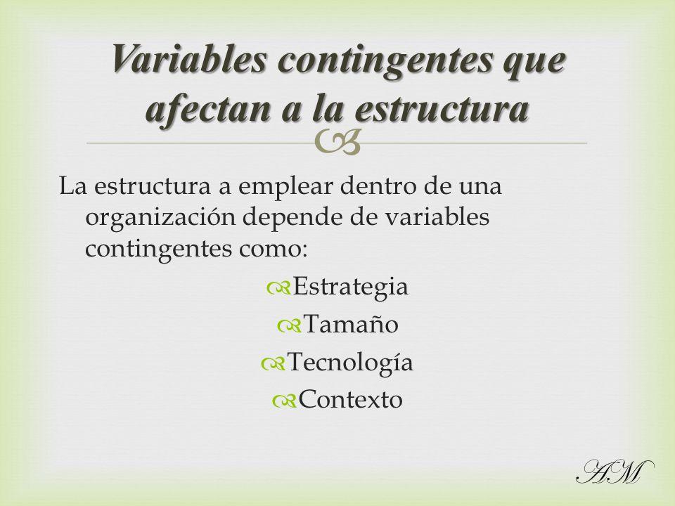 Variables contingentes que afectan a la estructura