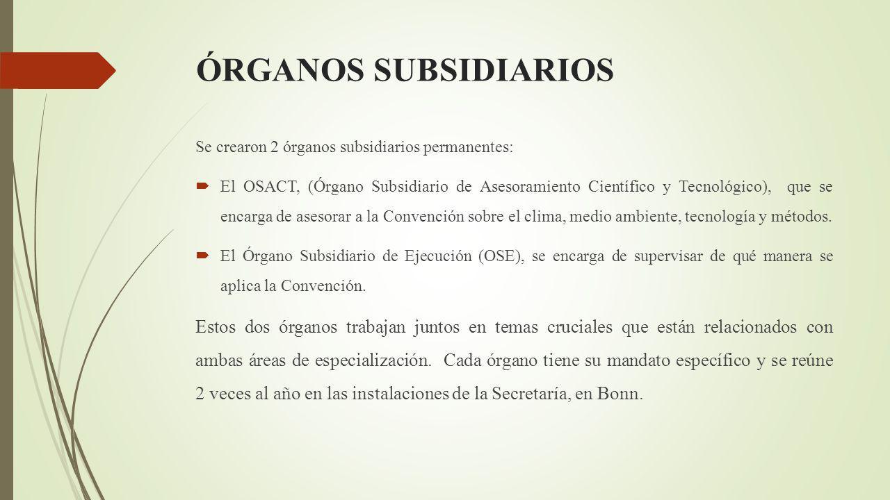 ÓRGANOS SUBSIDIARIOS Se crearon 2 órganos subsidiarios permanentes: