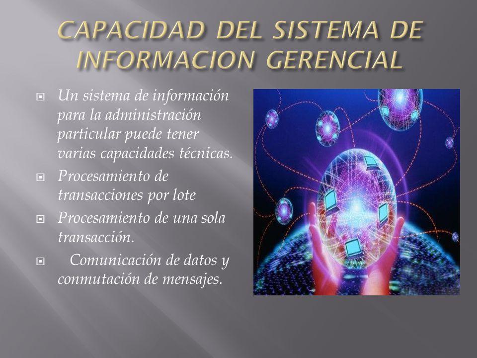 CAPACIDAD DEL SISTEMA DE INFORMACION GERENCIAL