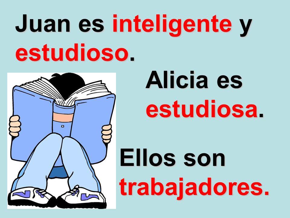 Juan es inteligente y estudioso.
