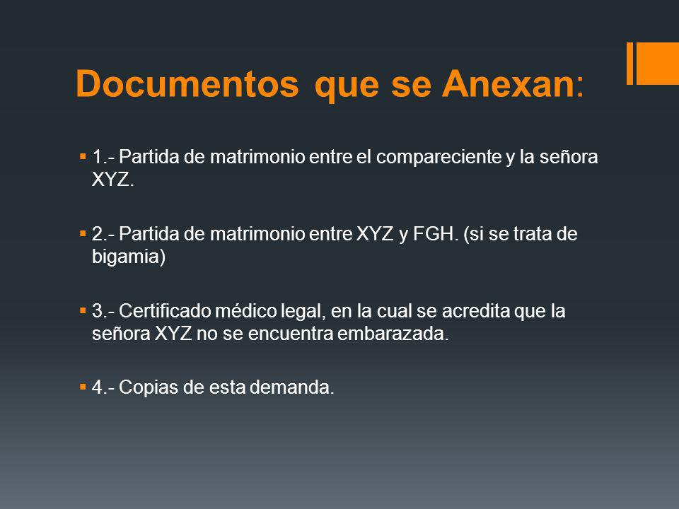 Documentos que se Anexan: