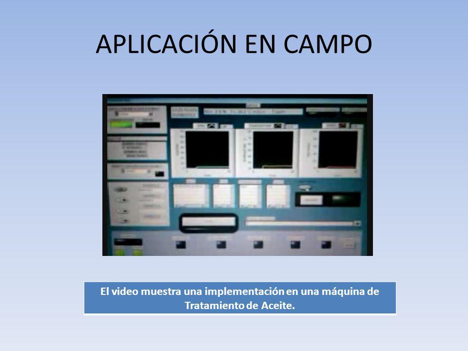 APLICACIÓN EN CAMPO El video muestra una implementación en una máquina de Tratamiento de Aceite.
