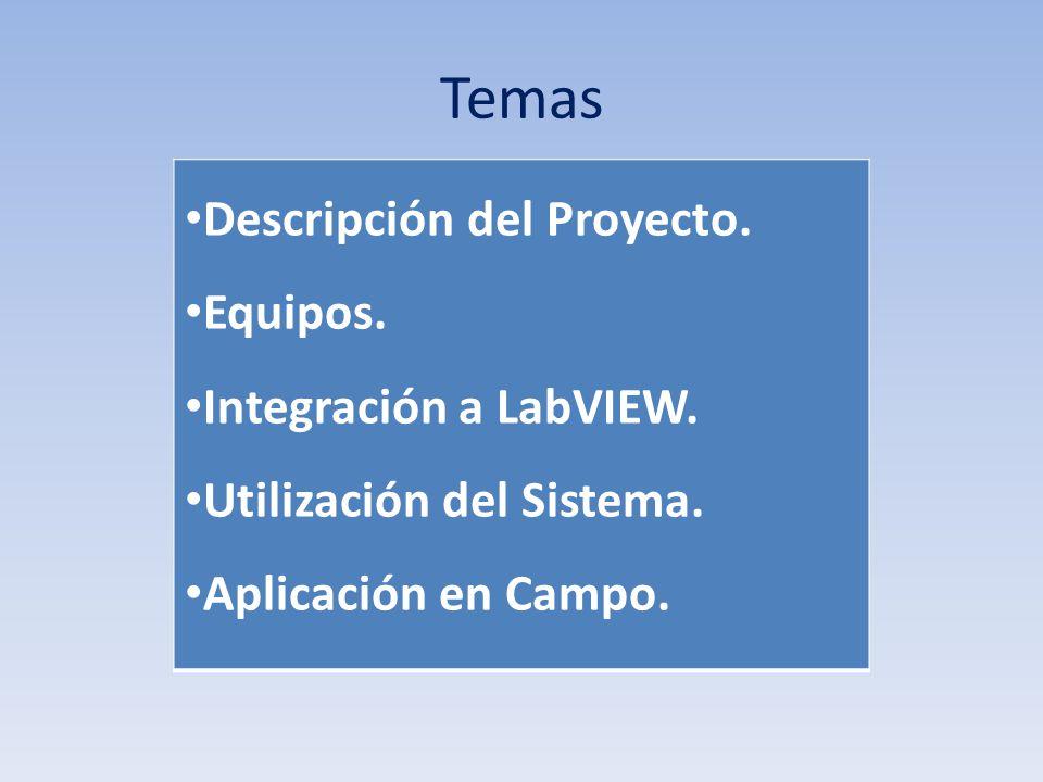 Temas Descripción del Proyecto. Equipos. Integración a LabVIEW.