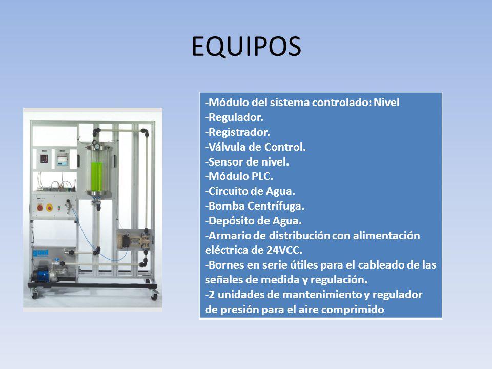 EQUIPOS -Módulo del sistema controlado: Nivel -Regulador.