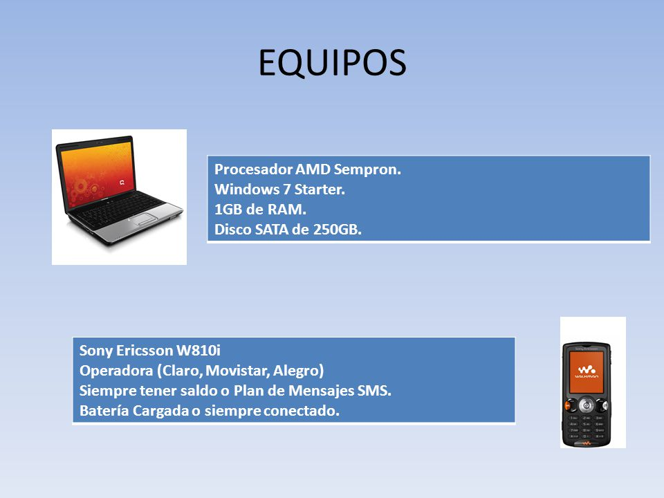 EQUIPOS Procesador AMD Sempron. Windows 7 Starter. 1GB de RAM.