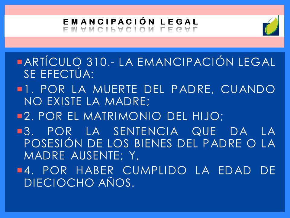ARTÍCULO 310.- LA EMANCIPACIÓN LEGAL SE EFECTÚA: