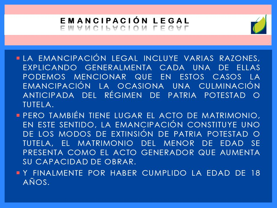 EMANCIPACIÓN LEGAL