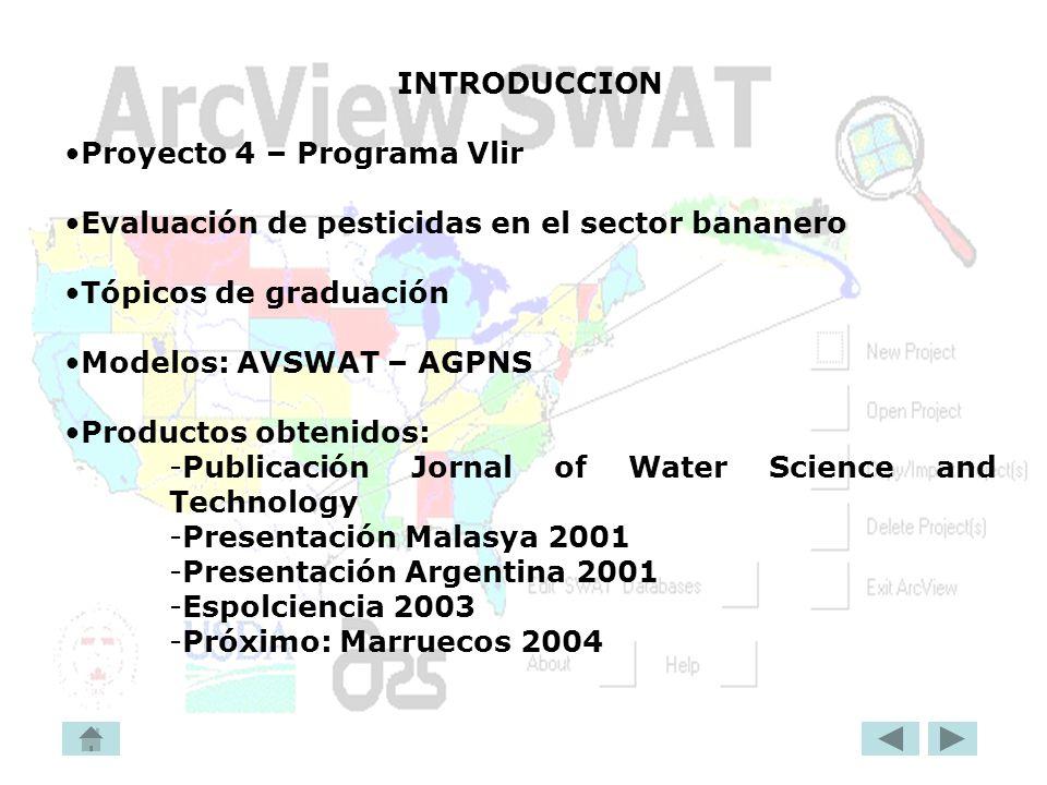 INTRODUCCION Proyecto 4 – Programa Vlir. Evaluación de pesticidas en el sector bananero. Tópicos de graduación.