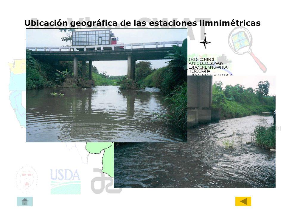 Ubicación geográfica de las estaciones limnimétricas
