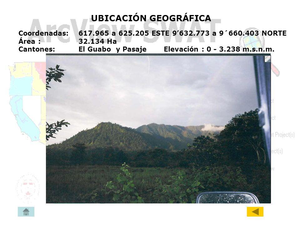 UBICACIÓN GEOGRÁFICA Coordenadas: 617.965 a 625.205 ESTE 9'632.773 a 9´660.403 NORTE. Área : 32.134 Ha.