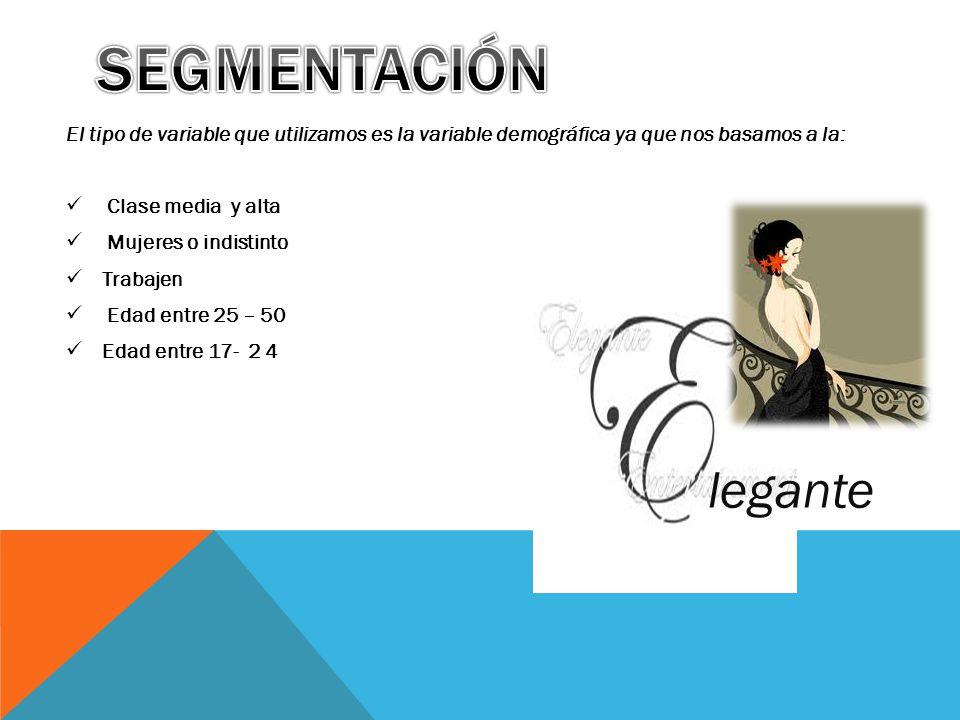 Segmentación El tipo de variable que utilizamos es la variable demográfica ya que nos basamos a la: