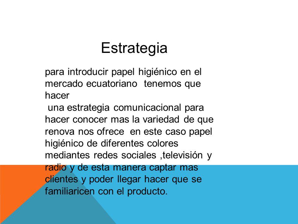 Estrategia para introducir papel higiénico en el mercado ecuatoriano tenemos que hacer.