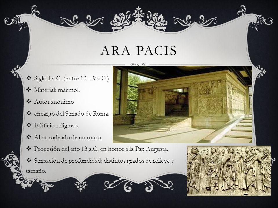 Ara Pacis Siglo I a.C. (entre 13 – 9 a.C.). Material: mármol.