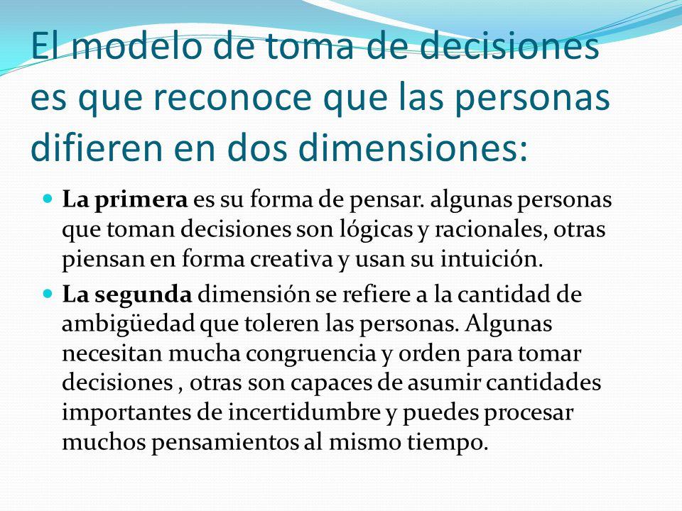 El modelo de toma de decisiones es que reconoce que las personas difieren en dos dimensiones: