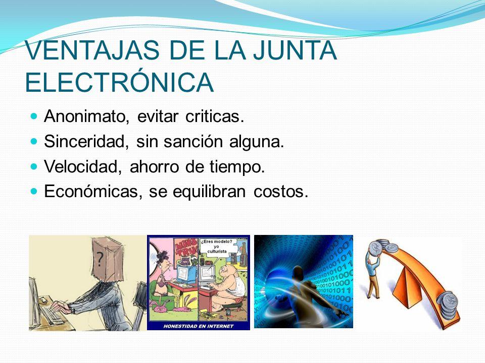 VENTAJAS DE LA JUNTA ELECTRÓNICA