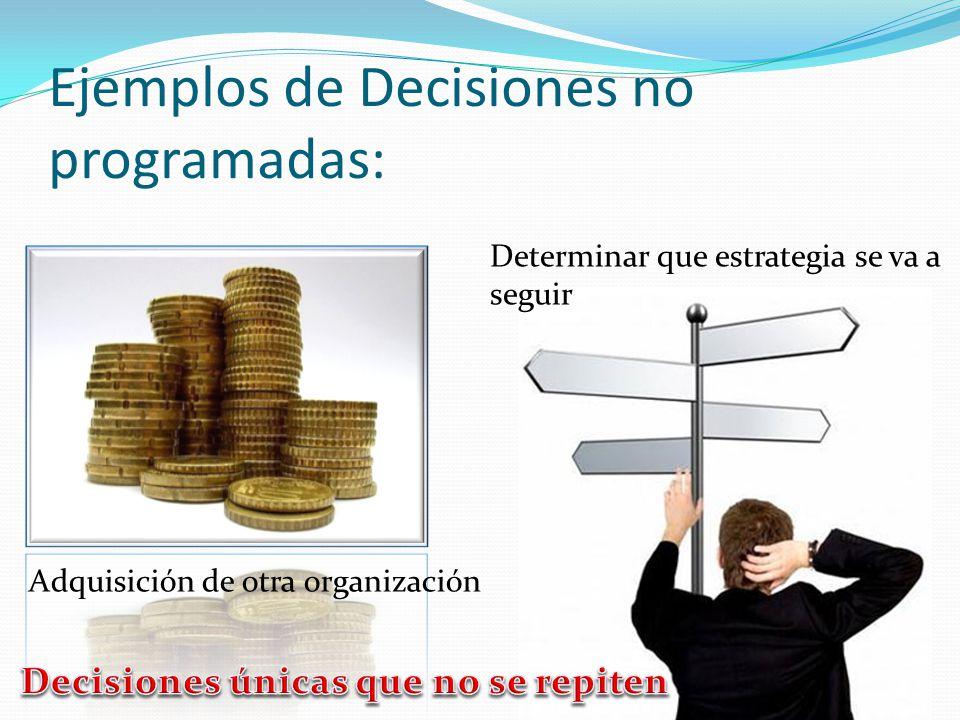 Ejemplos de Decisiones no programadas: