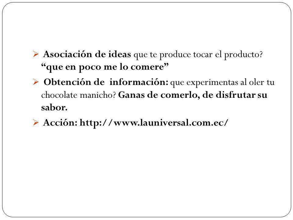 Asociación de ideas que te produce tocar el producto