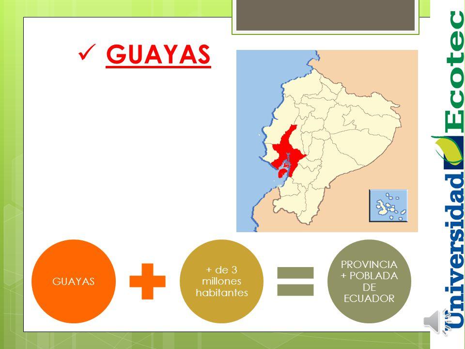 GUAYAS PROVINCIA + POBLADA DE ECUADOR + de 3 millones habitantes