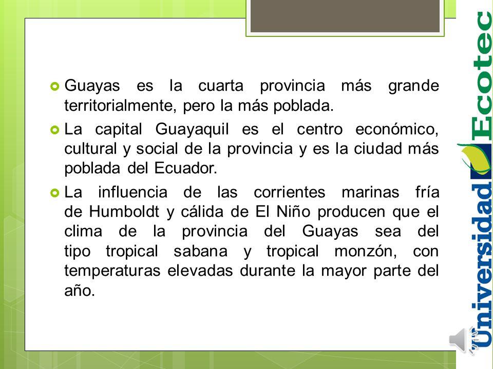 Guayas es la cuarta provincia más grande territorialmente, pero la más poblada.