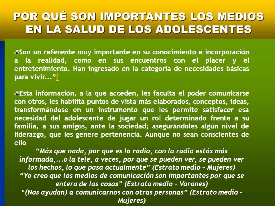 POR QUÉ SON IMPORTANTES LOS MEDIOS EN LA SALUD DE LOS ADOLESCENTES