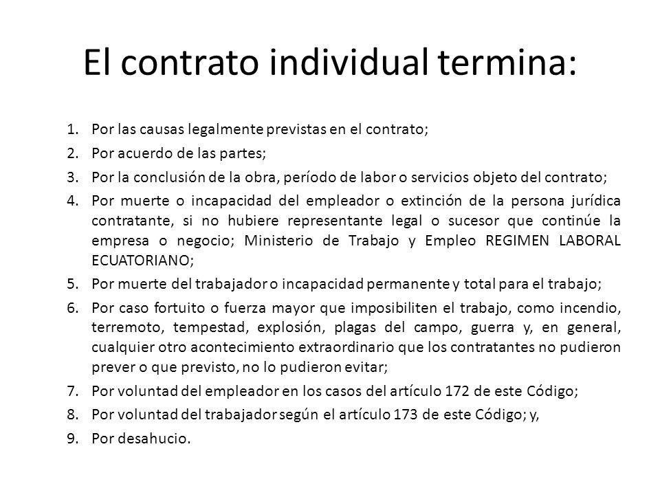 El contrato individual termina: