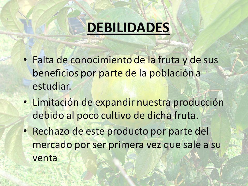DEBILIDADES Falta de conocimiento de la fruta y de sus beneficios por parte de la población a estudiar.
